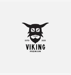 Viking scandinavia face head angry logo design vector