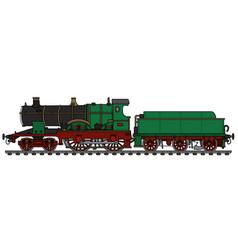 Vintage green steam locomotive vector