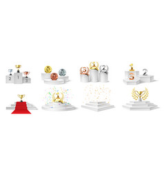 winner podium medal and cups trophies on vector image