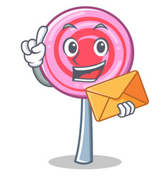 with envelope cute lollipop character cartoon vector image