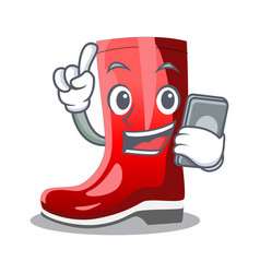 With phone rubber boots in a agricultural cartoon vector
