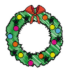Wreath crown christmas decoration celebration vector