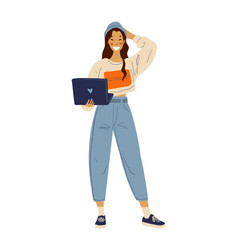 Young happy girl with a laptop in her hands vector