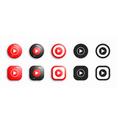 Youtube music modern 3d and flat icons set vector