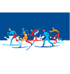 cross country ski race vector image