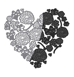 gray scale drawing silhouette vintage heart with vector image vector image