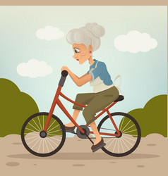 happy smiling grandmother character riding bike vector image vector image
