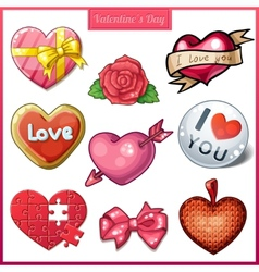 Set of candy hearts icons for Valentines Day vector image vector image