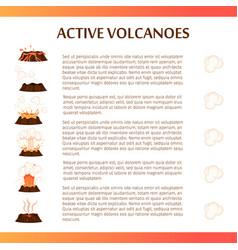 active volcanoes flat banner vector image