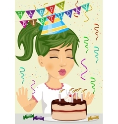 cute happy girl celebrating her birthday vector image