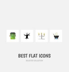 flat icon halloween set of candlestick terrible vector image