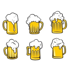 Lager beer tankards set vector image