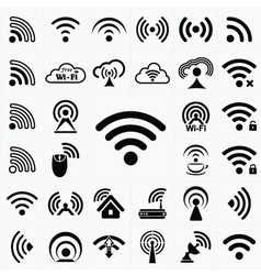 Set of black wireless and wifi icons vector image vector image
