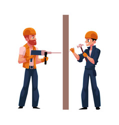 Two workers in helmets overalls drilling the wall vector