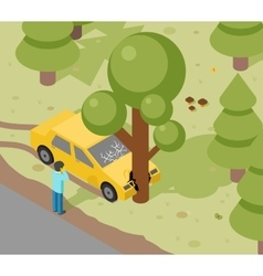 Car tree crash vector image