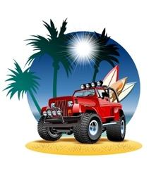 cartoon 4x4 car on beach vector image