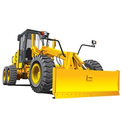 detailed ial image of yellow roadgrader isolated o vector image vector image