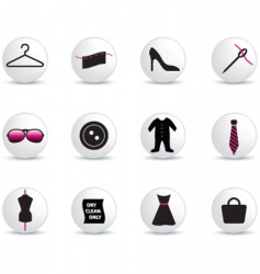 fashion icons white buttons vector image