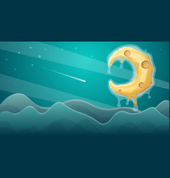 Moon landscape star and mountain vector