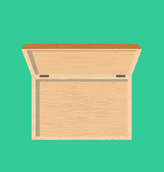 open wooden box top view isolated casket vector image vector image