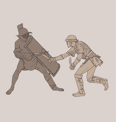 two battling gladiators vector image