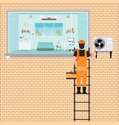 Worker man climbing ladder to repair air vector
