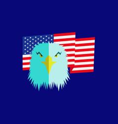 Eagle head and american flag vector