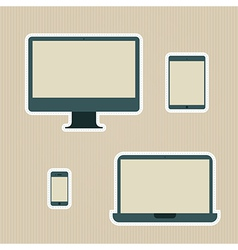 Electronic devices vintage icons set vector image vector image
