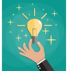 Hand thumb up with bulb light vector image vector image