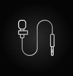 Lapel microphone line gray icon body mic vector