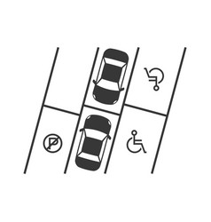Parking lot with disabled sign silhouette design vector