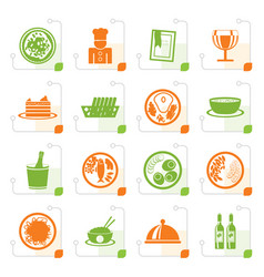 stylized restaurant food and drink icons vector image vector image