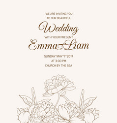 wedding invitation template rose peony sepia brown vector image vector image