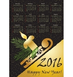 2016 calendar with whinter symbols in gold color vector image