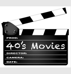 40s movies clapperboard vector image