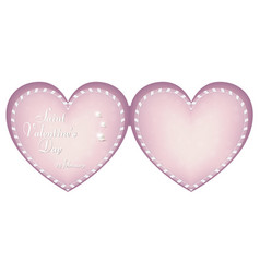 A gentle pink card in the shape of a heart on the vector