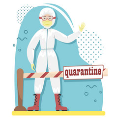 a person in bacterial protection blocks way vector image