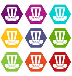 american hat icon set color hexahedron vector image