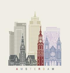 amsterdam v2 skyline poster vector image