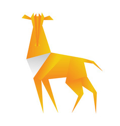 antelope origami in polygonal style triangle vector image