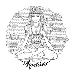 Aquarius zodiac sign line art vector