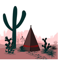 Banner with desert tepee cactus silhouetted vector
