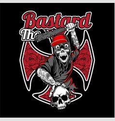 bastard skull wearing cap holding a baseball bat vector image