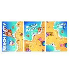 beach party cartoon flyer with woman in ocean vector image