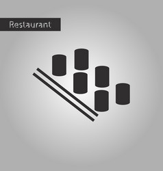 Black and white style icon sushi and sticks vector