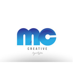 Blue gradient mc m c alphabet letter logo vector