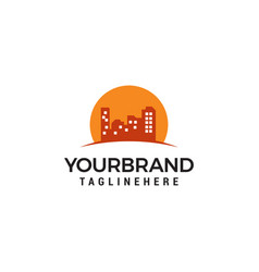 building sun logo design template vector image