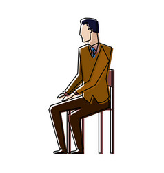 businessman sitting on chair taking a break vector image
