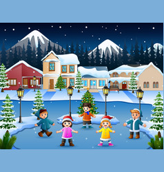 Cartoon of happy kid playing in the snowing villag vector