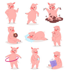 Cartoon pig piglet or piggy character and vector
